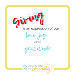 Giving is an expression of our love joy and gratitude