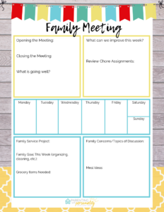 family meeting template thumbnail
